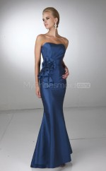 Ink Blue Satin Mermaid Sweetheart Long Bridesmaid Dresses (NZBD06586)