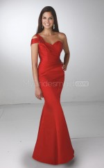 Red Satin Mermaid One Shoulder Long Bridesmaid Dresses (NZBD06587)