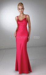 Red Satin Mermaid Cowl Long Bridesmaid Dresses (NZBD06588)
