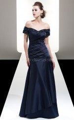 Dark Navy Satin A-line Off The Shoulder Long Bridesmaid Dresses (NZBD06601)