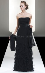 Black Chiffon A-line Strapless Long Bridesmaid Dresses (NZBD06602)