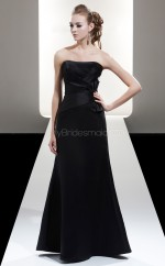 Dark Navy Satin A-line Strapless Long Bridesmaid Dresses (NZBD06604)
