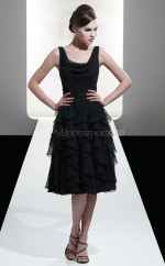 Black Chiffon A-line Straps Tea-length Bridesmaid Dress For Beach(NZBD06606)