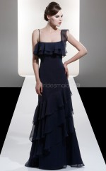Dark Navy Chiffon A-line Straps Long Bridesmaid Dresses (NZBD06610)