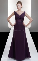 Grape Chiffon A-line V-neck Long Bridesmaid Dresses (NZBD06612)