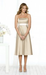 Champagne Satin A-line Strapless Knee-length Bridesmaid Dresses (NZBD06620)
