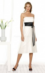 Ivory Chiffon A-line Strapless Knee-length Bridesmaid Dress For Beach(NZBD06621)
