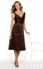 Chocolate Satin A-line V-neck Tea-length Bridesmaid Dresses (NZBD06622)