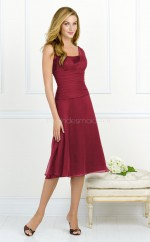 Burgundy Chiffon A-line Straps Knee-length Bridesmaid Dress For Beach(NZBD06623)