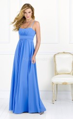 Sky Blue Chiffon A-line Straps Long Bridesmaid Dresses (NZBD06624)