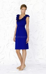 Royal Blue Chiffon A-line V-neck Knee-length Bridesmaid Dress For Beach(NZBD06630)