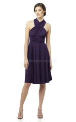 Grape Chiffon A-line High Neck Knee-length Bridesmaid Dress For Beach(NZBD06633)