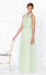 Sage Chiffon A-line Halter Long Bridesmaid Dresses (NZBD06635)