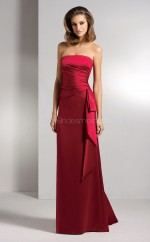 Burgundy Stretch Satin Sheath Strapless Long Bridesmaid Dresses (NZBD06641)
