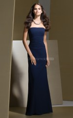 Dark Navy Chiffon Sheath Strapless Long Bridesmaid Dresses (NZBD06642)
