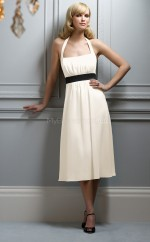 Ivory Chiffon A-line Halter Tea-length Bridesmaid Dress For Beach(NZBD06644)