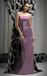 Grape Stretch Satin Sheath Strapless Long Bridesmaid Dresses (NZBD06646)