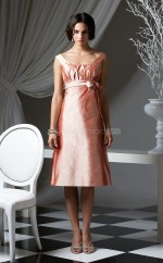 Blushing Pink Taffeta A-line Bateau Neckline Knee Length Bridesmaid Dresses (NZBD06651)