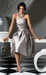 Silver Taffeta A-line Strapless Tea-length Vintage Bridesmaid Dresses (NZBD06652)
