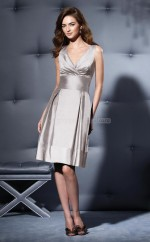 Silver Taffeta A-line Sweetheart Knee-length Vintage Bridesmaid Dresses (NZBD06654)