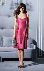 Fuchsia Taffeta A-line Straps Knee-length Bridesmaid Dresses (NZBD06659)