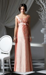 Blushing Pink Taffeta A-line Bateau Long Bridesmaid Dresses (NZBD06668)