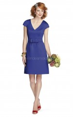 Royal Blue Satin Chiffon A-line Scoop Short Bridesmaid Dresses (NZBD06677)