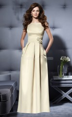 Champagne Satin A-line Bateau Long Bridesmaid Dresses (NZBD06684)