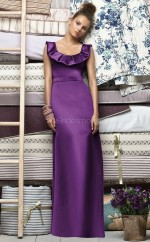 Grape Satin Sheath Scoop Long Bridesmaid Dresses (NZBD06690)