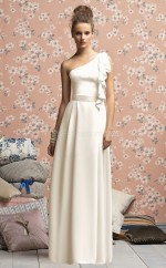Ivory Satin Chiffon A-line One Shoulder Long Bridesmaid Dresses (NZBD06693)