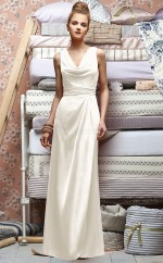 Ivory Satin Chiffon Sheath V-neck Long Bridesmaid Dresses (NZBD06695)
