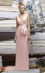 Pearl Pink Charmeuse Sheath V-neck Floor-length Vintage Bridesmaid Dresses (NZBD06697)