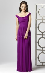 Fuchsia Chiffon A-line Off The Shoulder Long Bridesmaid Dresses (NZBD06702)