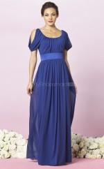 Royal Blue Chiffon A-line Scoop Long Bridesmaid Dresses (NZBD06703)