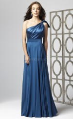 Royal Blue Chiffon , Charmeuse A-line One Shoulder Long Bridesmaid Dresses (NZBD06708)
