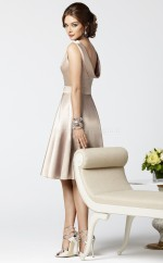 Champagne Stretch Satin A-line Bateau Neckline Knee Length Bridesmaid Dresses (NZBD06710)