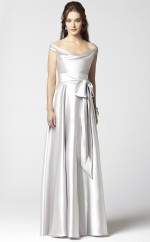Ivory Charmeuse A-line Off The Shoulder Long Bridesmaid Dresses (NZBD06711)