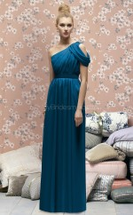 Ink Blue Chiffon A-line One Shoulder Long Bridesmaid Dresses (NZBD06714)