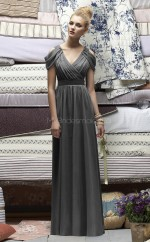 Gray Chiffon A-line V-neck Long Bridesmaid Dresses (NZBD06715)