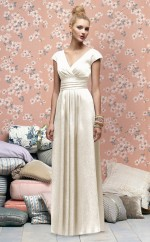 Ivory Satin Chiffon A-line V-neck Floor-length Vintage Bridesmaid Dresses (NZBD06717)