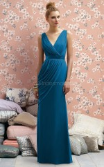 Ocean Blue Chiffon Sheath V-neck Long Bridesmaid Dresses (NZBD06719)