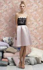 Blushing Pink Stretch Satin , Lace A-line Sweetheart Knee-length Bridesmaid Dresses (NZBD06723)