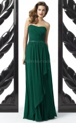 Dark Green Chiffon A-line Sweetheart Long Bridesmaid Dresses (NZBD06725)