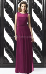 Fuchsia Chiffon A-line Scoop Long Bridesmaid Dresses (NZBD06726)