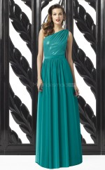 Green Satin Chiffon , Sequined A-line One Shoulder Long Bridesmaid Dresses (NZBD06727)