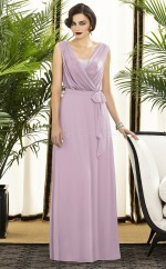 Lilac Chiffon A-line V-neck Long Bridesmaid Dresses (NZBD06728)