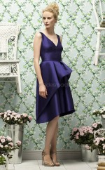 Purple Stretch Satin A-line V-neck Knee-length Bridesmaid Dresses (NZBD06733)