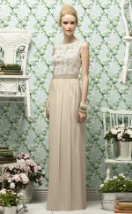 Champagne Chiffon , Lace Sheath Bateau Long Bridesmaid Dresses (NZBD06736)