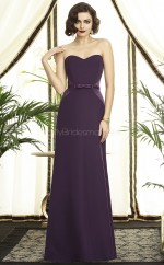 Grape Satin Chiffon A-line Sweetheart Long Bridesmaid Dresses (NZBD06737)