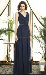 Ink Blue Chiffon A-line V-neck Long Bridesmaid Dresses (NZBD06741)